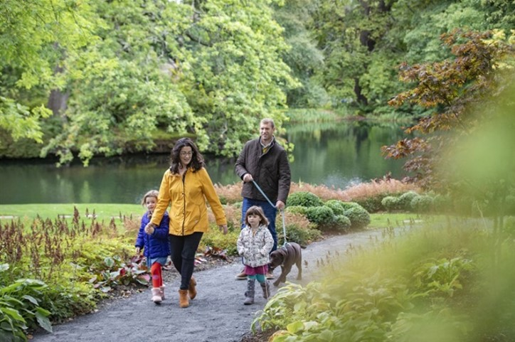 A family walks together beside a river in a woodland walk.