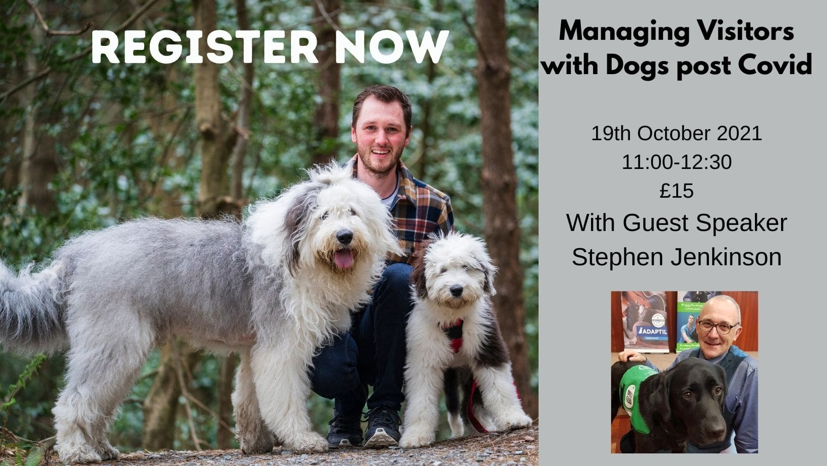 Flyer for webinar with man kneeling in a forest with two old english sheep dogs